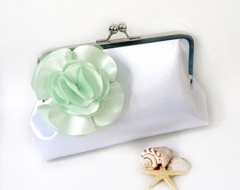 Bridesmaid Clutch Purse- White and Mint Green