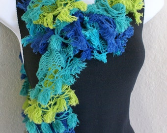Ruffle lace shabby soft scarf hand knit Multicolored green blue yellow +80 inches long