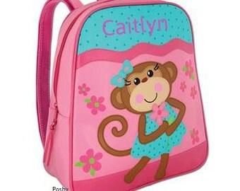 Personalized Backpack Stephen Joseph GoGo Bag Silly Monkey Girl