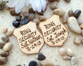 Personalized Wedding Decoration for your Ring Bearer RING SECURITY with His Name and Wedding Date of a Police Style Badge - SET of 2