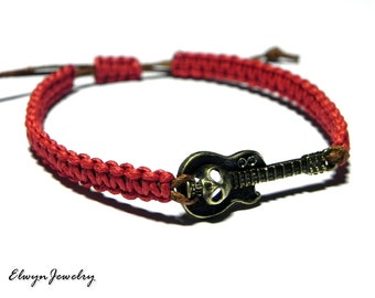 Guitar Bracelet, Mens Jewelry, Red Cord Bracelet, Music Bracelet, Rock Bracelet, Skull Bracelet, Rope Bracelet, Macrame, Charm Bracelet