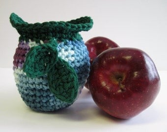 Crochet Apple Cozy Cozies for Fruit  - Shades of Purple and Teal with Hunter Green Leaves