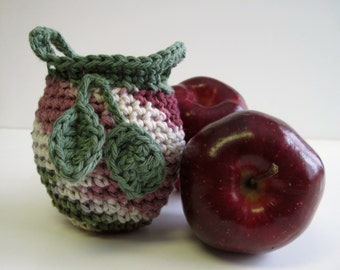 Crochet Apple Cozy Cozies for Fruit  - Shades of Cranberry and Green with Sage Green Leaves