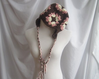 Earflap Hat Granny Square Crochet In Pink, Brown and Off White  Handmade Fashion Accessory