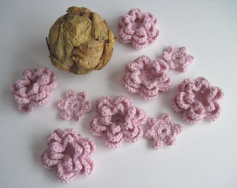 9 Crochet Cashmere Flower Appliques - Pink - Set of 9