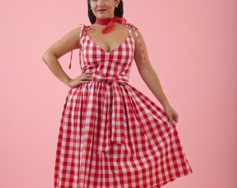 Red & White Gingham V Neck Strap Dress   Retro / Rockabilly / Vintage 50s Pinup Clothing