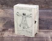 Leonadro Vitruvian Man Decoupage Book Box Leonardo da Vinci keepsake box Memory box Book treasury wooden Box Decoupage Jewelry Box