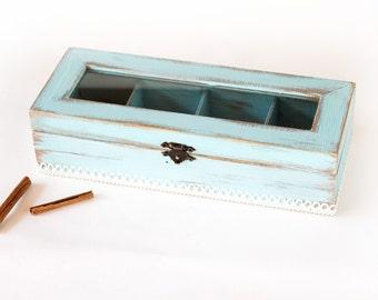 Light BlueTea Wooden Box, Tea Box, Tea Box Container, Shabby Chic tea box / storage box/, Jewelry box, Jewelry Organizer