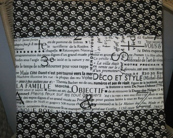 "14"" x 14"" Home Decor Cotton PILLOW COVER- Pirate Skulls with Crossbones with French Word Phrases Cafe Style"