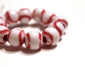 SALE Red and White Plastic Baseball Beads 12mm - 12 pcs
