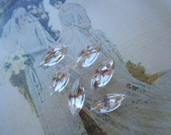 15x7mm Vintage Crystal Faceted Navettes 6 Pcs.