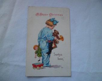 Christmas Toys Postcard 1926 Toys and Child