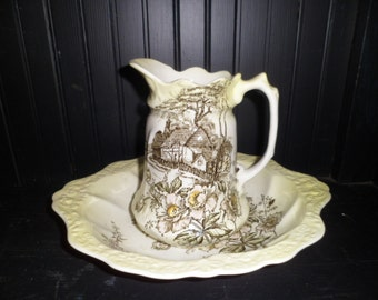 Antique Pitcher and Basin Old Foley Staffordshire English Cottage Scene Brown