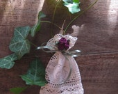 Bag, Small Lace Gift Pouch with Flower Ornaments, Wedding Favor Bag