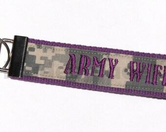 Purple Army Wife NAME TAPE Key Fob_ Key Chain _ Wristlet