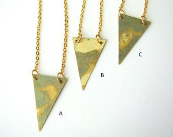 Triangle Necklace - Oxidized Hammered Brass Necklace