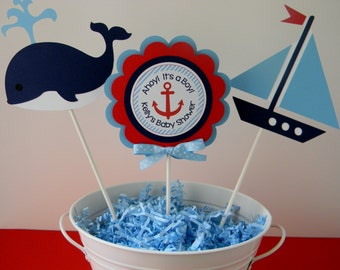 Beautiful Nautical Baby Shower Or Birthday Party Personalized Centerpiece Sticks    Nautical Party Decorations   Sailboat Centerpieces