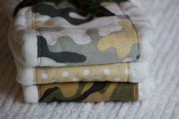 Set of Three Burp Cloths for a baby boy  camouflage