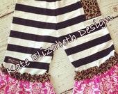 Striped Knit Ruffle Pants