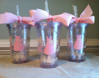 Set of 2 Personalized Flower Girl Acrylic Tumblers with Lid and Straw (BPA-free)