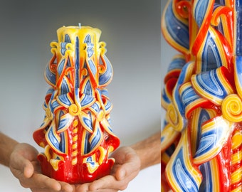 Unique gifts  - Carved candle - Large candle - Living room decorating ideas