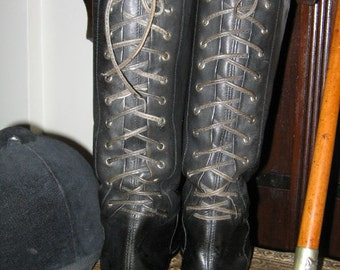 VINTAGE RIDING BOOTS, Black  Lace Up Back