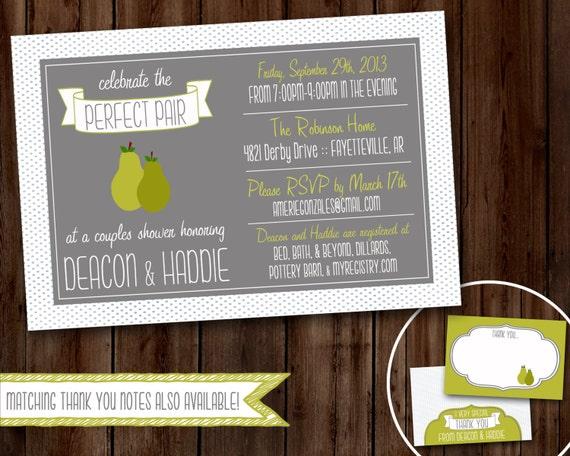 Perfect Wedding Invitations: Items Similar To Perfect Pair Wedding Shower Invitation