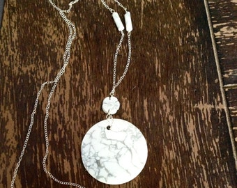 White and Gray Necklace - Howlite Jewelry - Long Gemstone Jewellery - Pendant - Flower - Sterling Silver