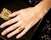 Gold Ring Bracelet, Dainty ring bracelet combo 14k gold filled / gold bohemian bracelet/ triangle slave bracelet