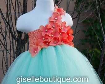 Flower girl dress. Mint TuTu Dress.baby tutu dress with Coral Hydrangeas  , toddler tutu dress, wedding, birthday,Vintage tutu dress,