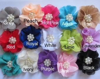 "15 Chiffon 2.5"" Flowers Sewn Pearl-U Pick CH022"