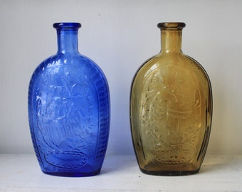 Vintage Large Blue and Amber Wheaton Presidential Bottles