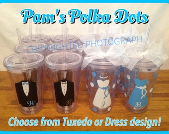 8 Personalized Clear WEDDING PARTY TUMBLERS with Dress or Tuxedo Bride Groom Bridesmaid Groomsman