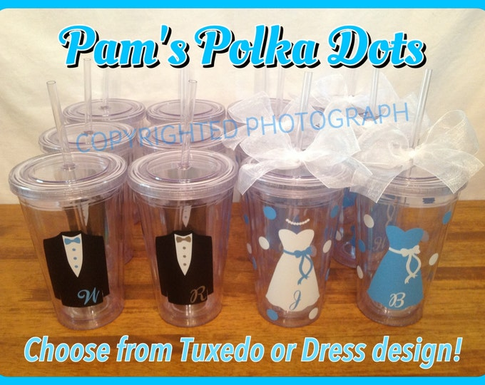 12 Personalized Clear WEDDING PARTY TUMBLERS with Dress or Tuxedo Bride Groom Bridesmaid Groomsman