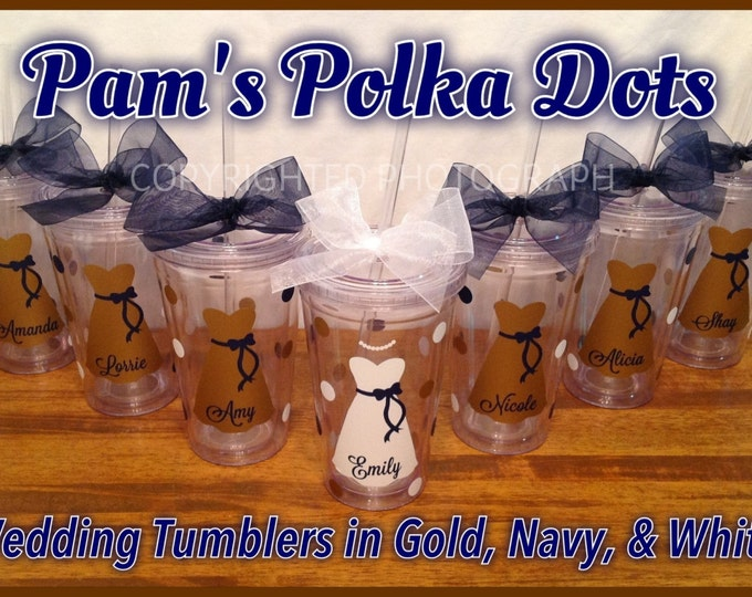 7 Personalized 16 oz. Clear BRIDE & BRIDESMAIDS TUMBLERS with Dresses Names Polka Dots Bridal Bachelorette Wedding Party