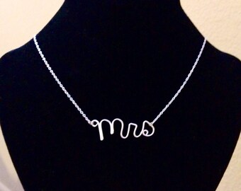 Sterling Silver Dainty Mrs Necklace for Bride-to-Be Bridal or Wedding Gift