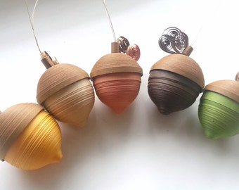 Acorn Thanksgiving Decor for Fall,  Fall Table Decor, Thanksgiving Decoration, Thanksgiving Acorn Ornament Set Paper Quilled Fall Colors