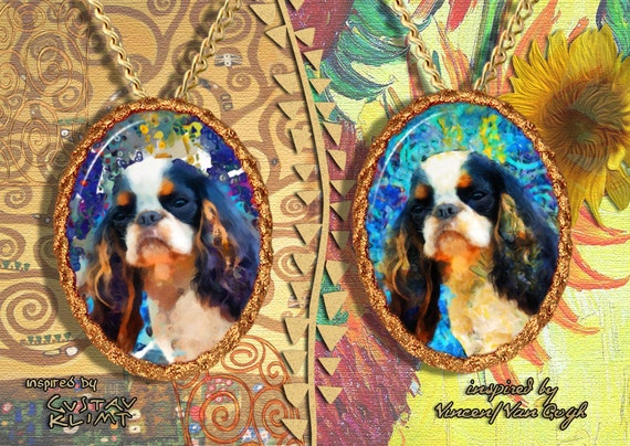 English Toy Spaniel Jewelry Pendant - Brooch Handcrafted Porcelain by Nobility Dogs - Gustav Klimt and Van Gogh