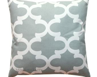 Toss Pillows, Fynn Cool Grey Pillow Cover, Quatrefoil Pillow, Zippered Pillow, Cushion Cover, Moroccan Pillow, Sofa Pillow, Throw Pillows