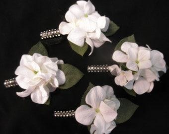 Set of Boutonnieres. You pick how many. Prom Wedding Black Silver White Hydrangea Rhinestone wrap (Diamond Ribbon) Groom Father of the Bride