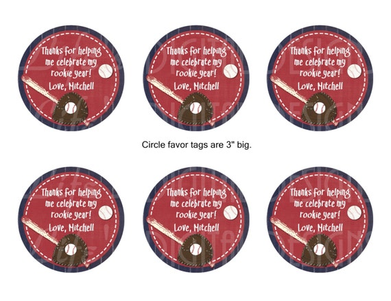 """Baseball Party 3"""" Round Favor Tags, Stickers, Gift Bag Toppers ..."""