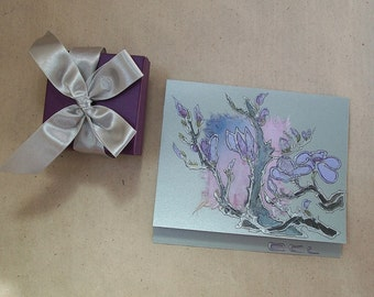 Lilac magnolia - japanese style - Magnolia branches with blossoms - handmade blank greeting card for any event - OOAK