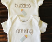 Drinking Buddies Twin Onesies® Siblings Set / Pregnancy Announcement / Sibling Set / Coming Home Outfit / Gender Reveal