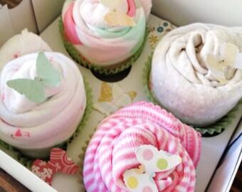 4 Bodysuit Cupcake Baby Gift Set