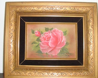 Roses Oil Painting - Shabby Chic  - Cottage Pink - Gold Ornate Frame - Signed - Wall Decor - Framed - Romantic Victorian