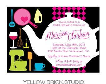 tea pot bridal shower invitation - DIY printable file by YellowBrickStudio