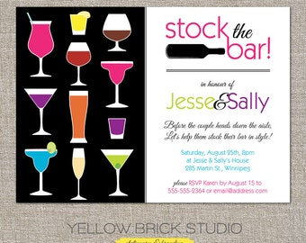 stock the bar engagement party invitation and optional recipe card - DIY printable file by YellowBrickStudio
