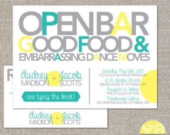 wedding invitation -  open bar and good food - diy printable files by YellowBrickStudio