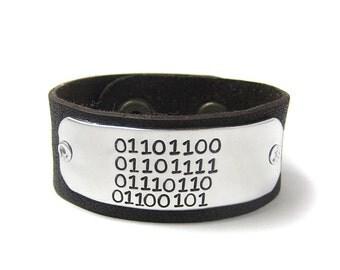 Woman's Binary Love Leather Cuff Bracelet