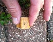 Vintage Wooden Rubber Stamp HALF Sign (1/2), Antique Old Rubber Stamp